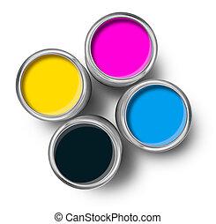顏色, 頂部, cmyk, 畫罐, 罐頭