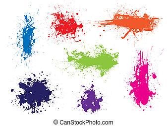 顏色, grunge, splat, 墨水