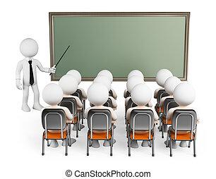 類別, 人們。, 學生, 3d, 白色
