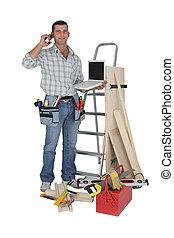 顧客, 站, 木匠, 打電話, 設備, 做
