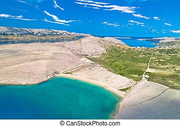 風景, 惊人, 石頭, 海灘, beritnica, 空中, metajna, 看法, 沙漠, pag., 著名, 島