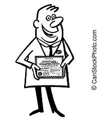 風格, 他的, 醫生, 畢業証書, 插圖, 版本, 黑色, 白色, 卡通