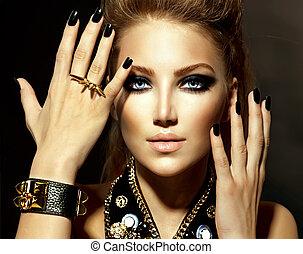 風格, 女孩, 時髦模型, 肖像, 搖滾歌手