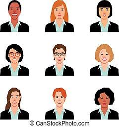 風格, 婦女, 插圖, avatars, 集合, 肖像, 矢量, 套間