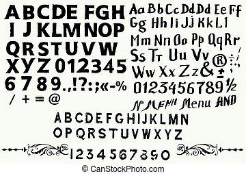 風格, 字體, abc, 彙整, 英語, 葡萄酒, 手, 畫