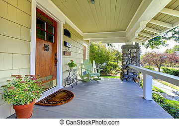 風格, 工匠, 蓋, theold, home., 前面門廊