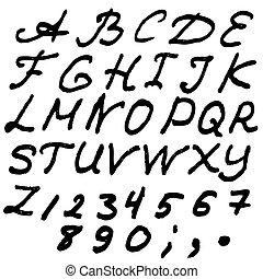 風格, 或者, abc, 字母表, gruge, 英語, 手, 畫, typeface.