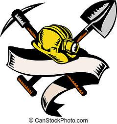 風格, 木刻, 礦工, 被隔离, 插圖, 紙卷, 煤炭, 做, retro, 尖鋤, hardhat, 白帽子, 或者, 黑桃