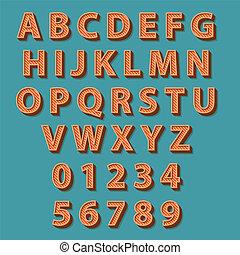 風格, 矢量, alphabet., retro, illustration.