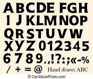 風格, 符號, 數字, grunge, 信件, abc, 洗禮盆, 矢量, 英語, 手, 畫
