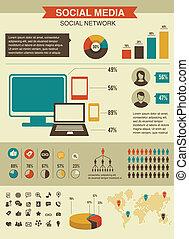 風格, 网絡, 集合, infographics, 設計, retro, 社會