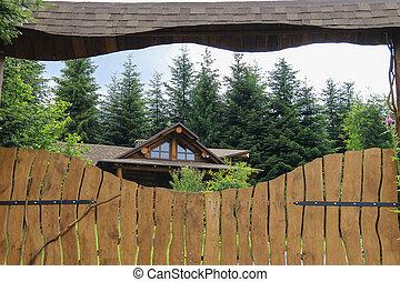 風格, 老, 柵欄, 木制, 後面, 村舍, 上