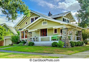風格, 老, porch., 綠色, 工匠, 家, 蓋