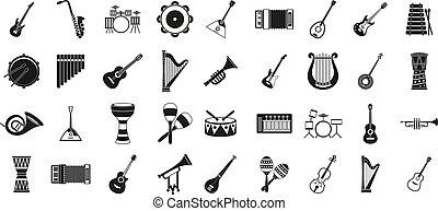 風格, 集合, 儀器, 音樂, 簡單, 圖象