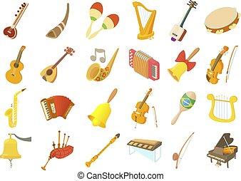 風格, 集合, 卡通, 儀器, 音樂, 圖象