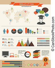 風格, 集合, 設計, retro, infographics, 教育