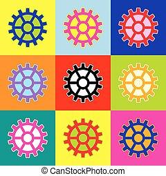 風格, 集合, 齒輪, 鮮艷, 圖象, 徵候。, 3, colors., vector., pop-art