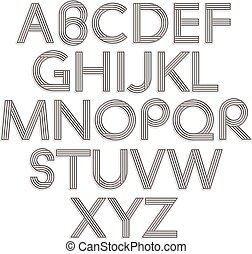 風格, alphabet., retro