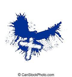 風格, dove., grunge, 鴿子, 插圖, cross., 矢量