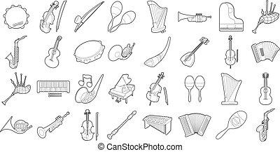 風格, outline, 集合, 儀器, 音樂, 圖象