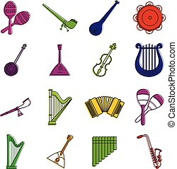 風格, outline, 集合, 儀器, 音樂, 顏色, 圖象
