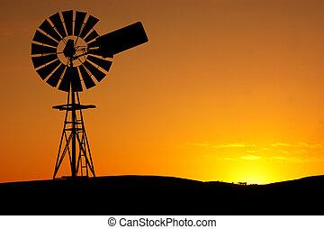 風車, 傍晚
