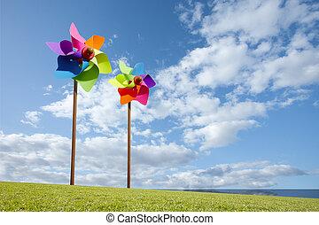 風車, 概念, 農場, 能量, 玩具, 綠色, 海, 風