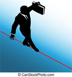 風險, 事務, 危險, 符號, 拉緊的繩索, 步行, 人