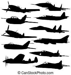 飛机, 反對, 彙整, 不同, silhouettes.