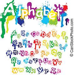 飛濺, -, 手, 顏色, 信件, 墨水, font., 畫, 邊帶潑喇聲, 畫, 做, 字母表, 水