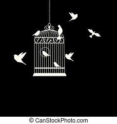 飛行, 插圖, 鳥, 矢量, 籠子, 鳥