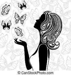 飛行, 蝴蝶, 婦女, 黑色半面畫像, 年輕