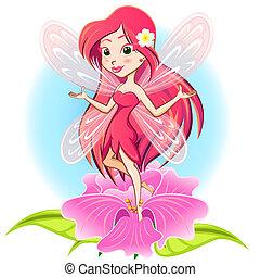 飛行, flowe, 公主, 仙女, 上面