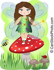 飛, 魔棒, 插圖, agaric, 小, 明信片, 登陸, 仙女, 卡通, 翅膀