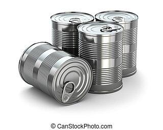 食物, 被隔离, 背景。, 錫罐, 白色