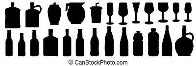 飲料, 玻璃, 集合, 矢量, 瓶子, 黑色半面畫像, 插圖, 圖象