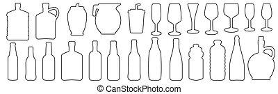飲料, 玻璃, 集合, outline, 瓶子, 插圖, 圖象