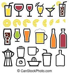 飲料, 符號, 圖象, 線, 稀薄