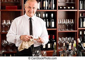餐館, 侍者, 玻璃, 打掃, 酒吧, 酒