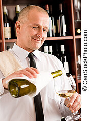 餐館, 侍者, 發球, 玻璃, 愉快, 酒