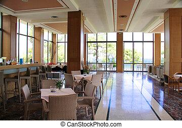 餐館, 俱樂部, 現代, 內部, nigt, 或者
