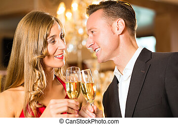 餐館, 婦女, 香檳酒, 人, 品嘗