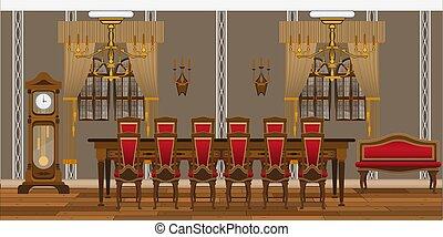 餐館, 客廳, 表, 椅子, 研究, 大, 內部, 或者