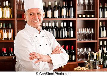 餐館, 廚師, 充滿信心, 矯柔造作, 烹調, 專業人員