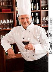 餐館, 廚師, 玻璃, 烹調, 握住, 酒