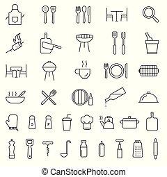 餐館, 烹調, outline, 圖象, 服務, 廚房, icons., 黑色, 彙整, 刀叉餐具, 工具, 線