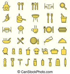 餐館, 烹調, outline, 圖象, 服務, 廚房, icons., 黑色, 彙整, 燒烤野餐, 刀叉餐具, 工具, 線