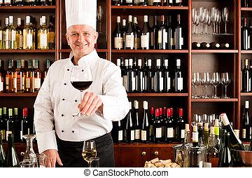 餐館, 發球, 廚師, 玻璃, 烹調, 微笑, 酒