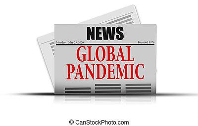 首頁, 大流行病, 警報, 爆發, 全球, 報紙