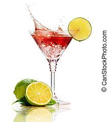 馬蒂尼雞尾酒, 雞尾酒, 飛濺, 被隔离, 紅色, 石灰